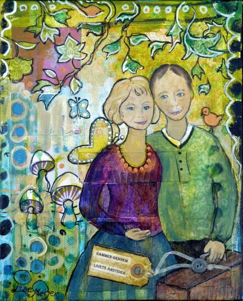 """Journey together/ Rejse sammen"" Acrylic and paper on canvas, 24 x 30 cm (sold/solgt)"