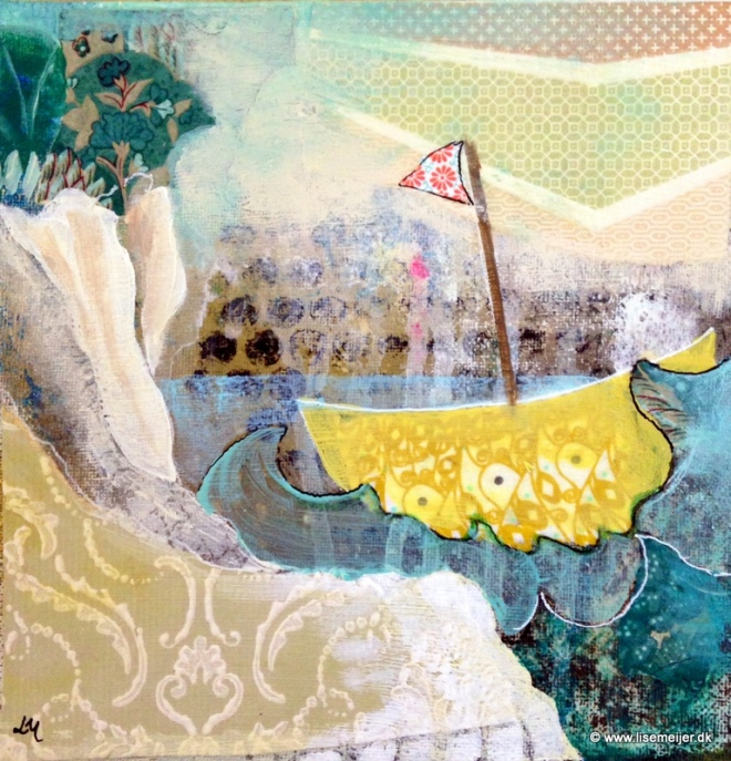 """""""""""Sail on/ Sejl videre"""" Acrylic and paper on canvas, 20 x 20 cm -(Sold)"""