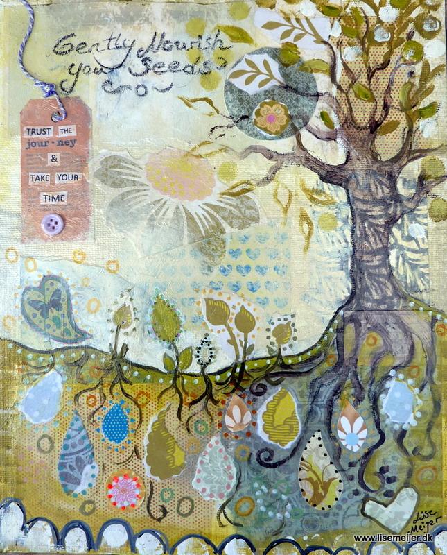 """Nourish your seeds/Giv dine frø næring"", mixed media on canvas, 25 x 30 cm"