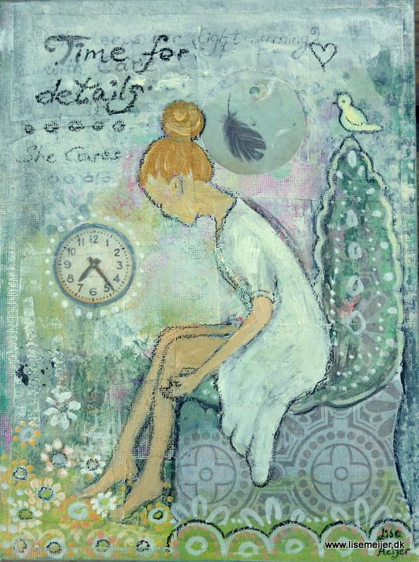 """""""Time for details/Tid til detaljer"""", mixed media on canvas, 18 x 24 cm"""