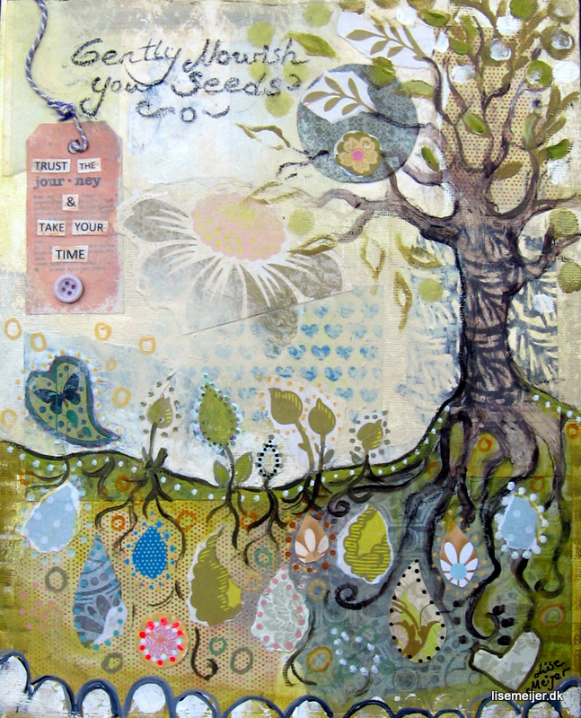 """Nourish your seeds/Giv dine frø næring"", mixed media on canvas, 25 x 30 cm. Price: 1800 DKK"