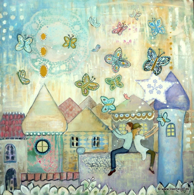 """Butterfly friends"" mixed media on deep edge canvas, 60 x 60 cm, 4.800 kr."