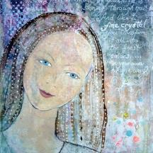 "(SOLD) Like a crystal/ Som en krystal"" Acrylic and paper on canvas, 24 x 30 cm."